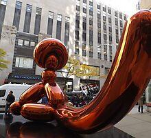 Balloon Monkey, Jeff Koons Artist, Rockefeller Center, New York City by lenspiro