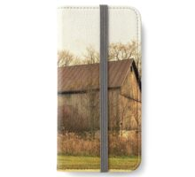 Old Barn with a Wooden Silo iPhone Wallet/Case/Skin