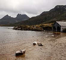 Dove Lake boathouse, Cradle Mountain, tasmania October 2014 by Odille Esmonde-Morgan