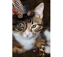 Steampunk Funny Cute Cat Photographic Print