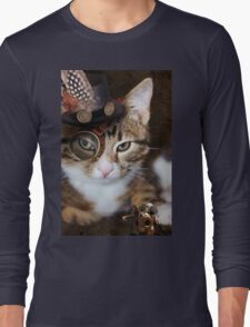 Steampunk Funny Cute Cat Long Sleeve T-Shirt