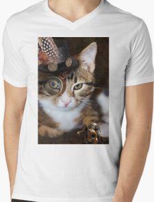 Steampunk Funny Cute Cat Mens V-Neck T-Shirt