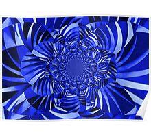 Blue Zebra Striped Flower Poster