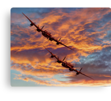 Out Of The Sunset - The 2 Lancasters Canvas Print