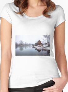 Water mill on the frosted trees in her lap in Jelka Women's Fitted Scoop T-Shirt