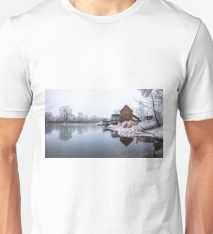 Water mill on the frosted trees in her lap in Jelka Unisex T-Shirt