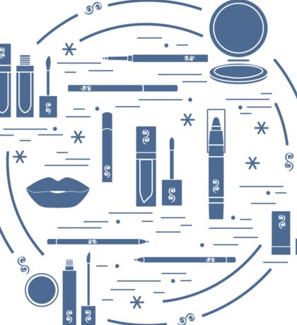 Vector illustration of different lip make-up tools arranged in a circle. Including icons of lipsticks, mirror, lip liner, lip gloss, lip.  Sticker