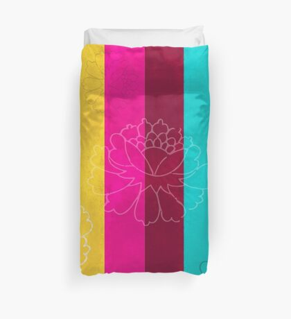 Chinese Flowers & Stripes - Pink Yellow Cyan Red Duvet Cover