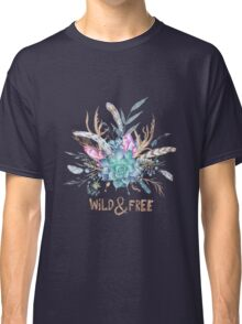 Wild and Free Boho Watercolor Illustration Classic T-Shirt