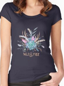 Wild and Free Boho Watercolor Illustration Women's Fitted Scoop T-Shirt