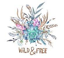 Wild and Free Boho Watercolor Illustration Photographic Print