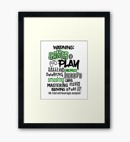 Video Game Gamer Typography Framed Print