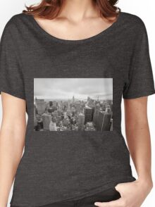 Black and white aerial view over Manhattan Women's Relaxed Fit T-Shirt
