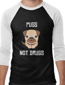 Cute Dog Pug Puppy Pugs Not Drugs Men's Baseball ¾ T-Shirt