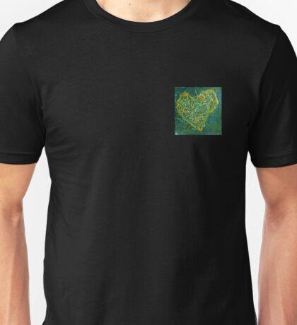 Precious Heart - green and gold textured heart Unisex T-Shirt