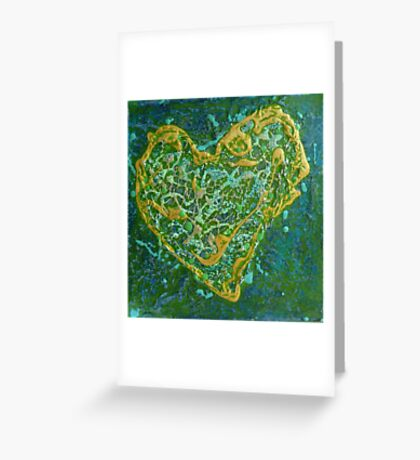Precious Heart - green and gold textured heart Greeting Card