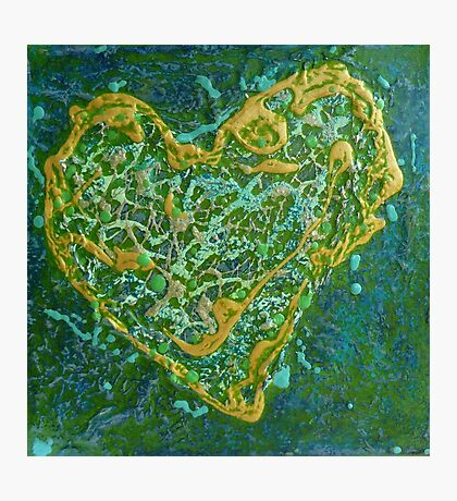 Precious Heart - green and gold textured heart Photographic Print
