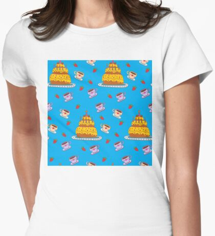 Happy Birthday Seamless Pattern with Cake for Children Party Womens Fitted T-Shirt