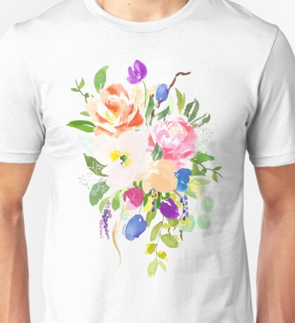 Watercolor Floral Bouquet Mixed Flowers Unisex T-Shirt