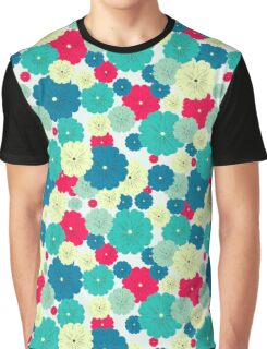 Seamless floral pattern with red, blue, green, light yellow flowers placed randomly. Graphic T-Shirt