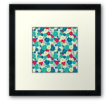 Seamless floral pattern with red, blue, green, light yellow flowers placed randomly. Framed Print