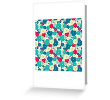 Seamless floral pattern with red, blue, green, light yellow flowers placed randomly. Greeting Card