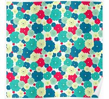 Seamless floral pattern with red, blue, green, light yellow flowers placed randomly. Poster