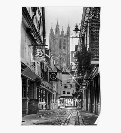 Butchery Lane (black and white) Poster