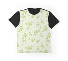 Seamless pattern with leaves placed randomly on light green background Graphic T-Shirt