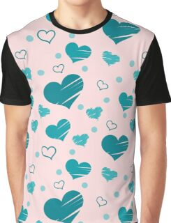 Seamless pattern with blue hearts placed randomly on pink background. Filled with brush strokes and only with outer line. Graphic T-Shirt