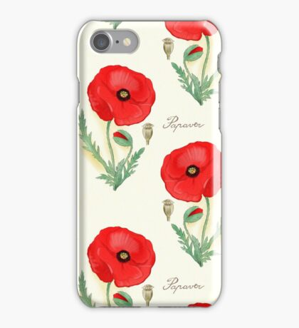 bothanical  red poppy iPhone Case/Skin