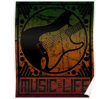 Music is Life: Guitar Strat Poster