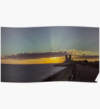 Reculver Towers sunrise Poster