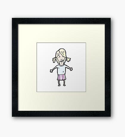 cartoon blond girl Framed Print