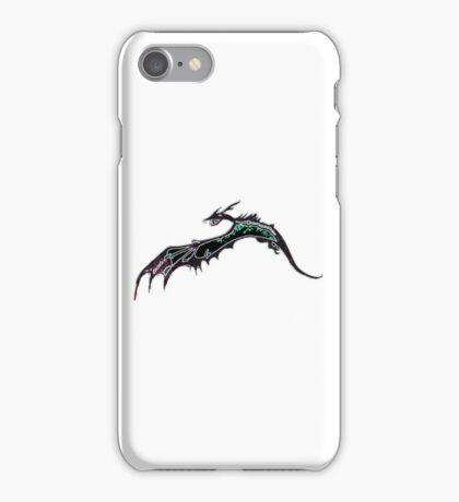 Glowing dragon flying over water iPhone Case/Skin