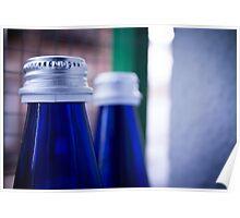 Gray stopper bottle of sparkling water blue glass Poster