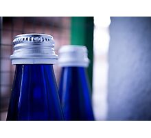 Gray stopper bottle of sparkling water blue glass Photographic Print