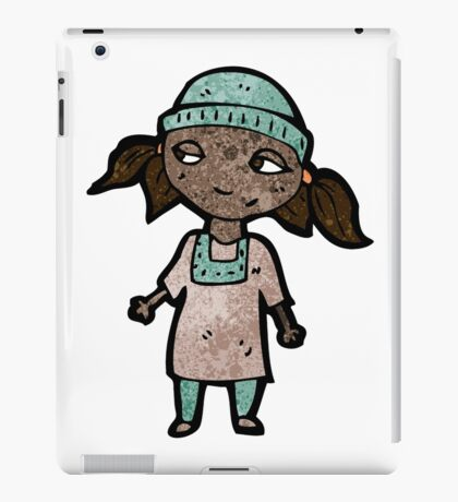 cartoon girl wearing hat iPad Case/Skin