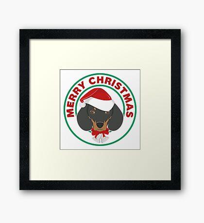 Merry Christmas Dachshund Dog Framed Print