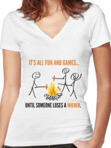 It's All Fun And Games Funny Camping T Shirts Women's Fitted V-Neck T-Shirt