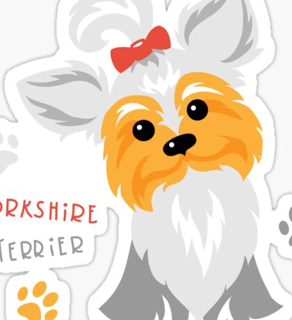silver blue and pale cream Yorkshire terrier Sticker