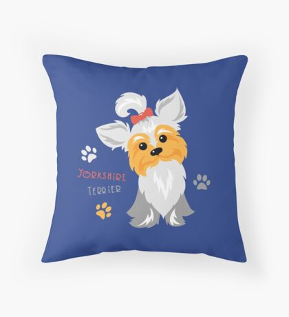 silver blue and pale cream Yorkshire terrier Throw Pillow