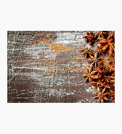 Food background with star anise close up  Photographic Print