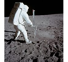Astronaut during Apollo 11 extravehicular activity on the moon. Photographic Print