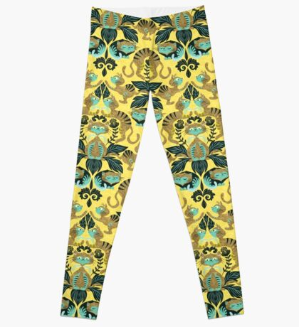 yellow damask cats Leggings