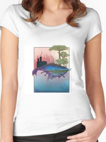 Whale Earth Painting Women's Fitted Scoop T-Shirt