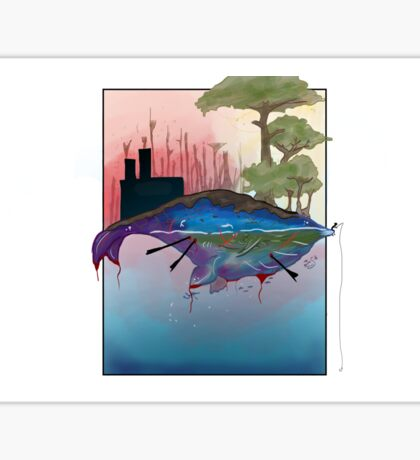 Whale Earth Painting Sticker