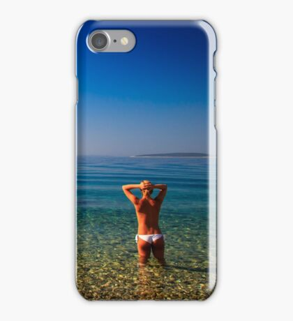 Girl at the sea in Croatia iPhone Case/Skin