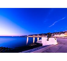 sunset in front of the city of Trieste Photographic Print