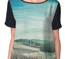 snowy morning in the vineyard Chiffon Top